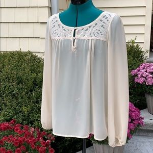 Forever 21 sheer cream blouse medium